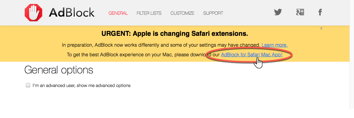 Notice on AdBlock's options page after the September Safari update