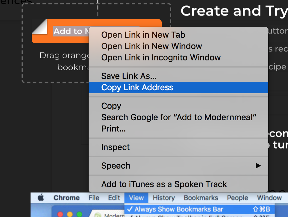 How to add the One-Click Import tool to Chrome toolbar : Modernmeal
