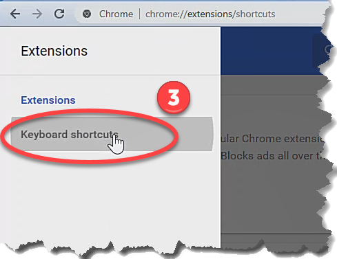 Changing the pause/unpause keyboard shortcut in Chrome, Step 3.