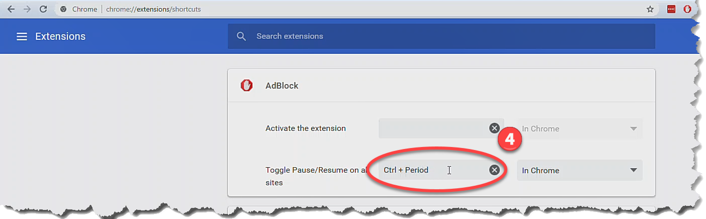 Pausing and unpausing AdBlock using a keyboard shortcut or context
