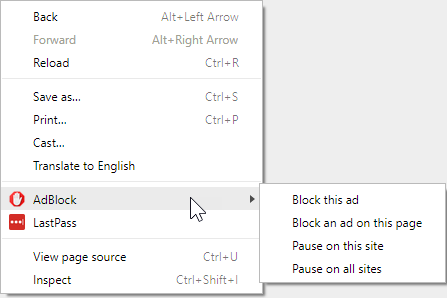 Pausing AdBlock using the page context (right-click) menu in Chrome