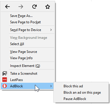 Pausing AdBlock using the page context (right-click) menu in Firefox
