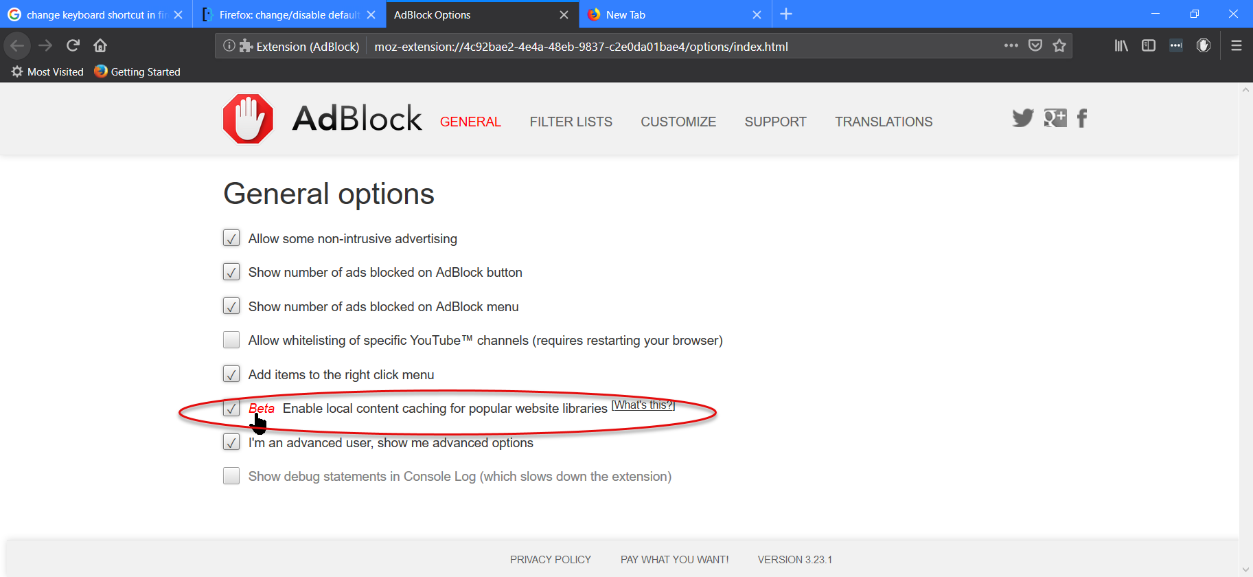 Disable local content caching in AdBlock's options