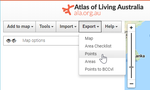 Export Point Sample : ALA Support