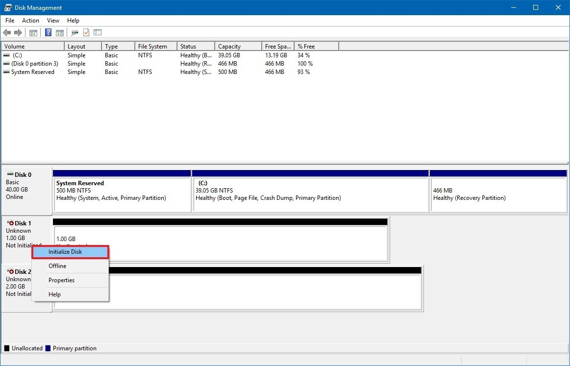 How to create and format new partition using Disk Management