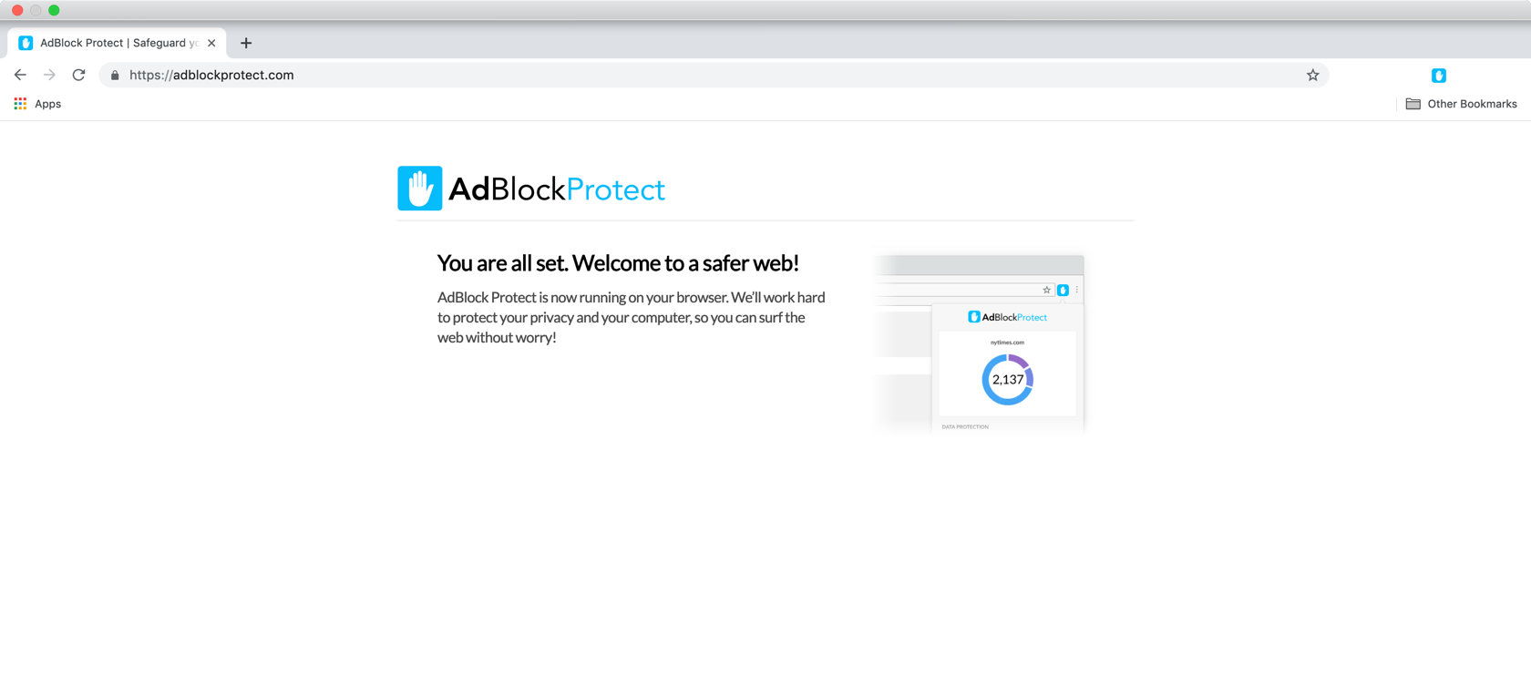 Installing AdBlock Protect, final step