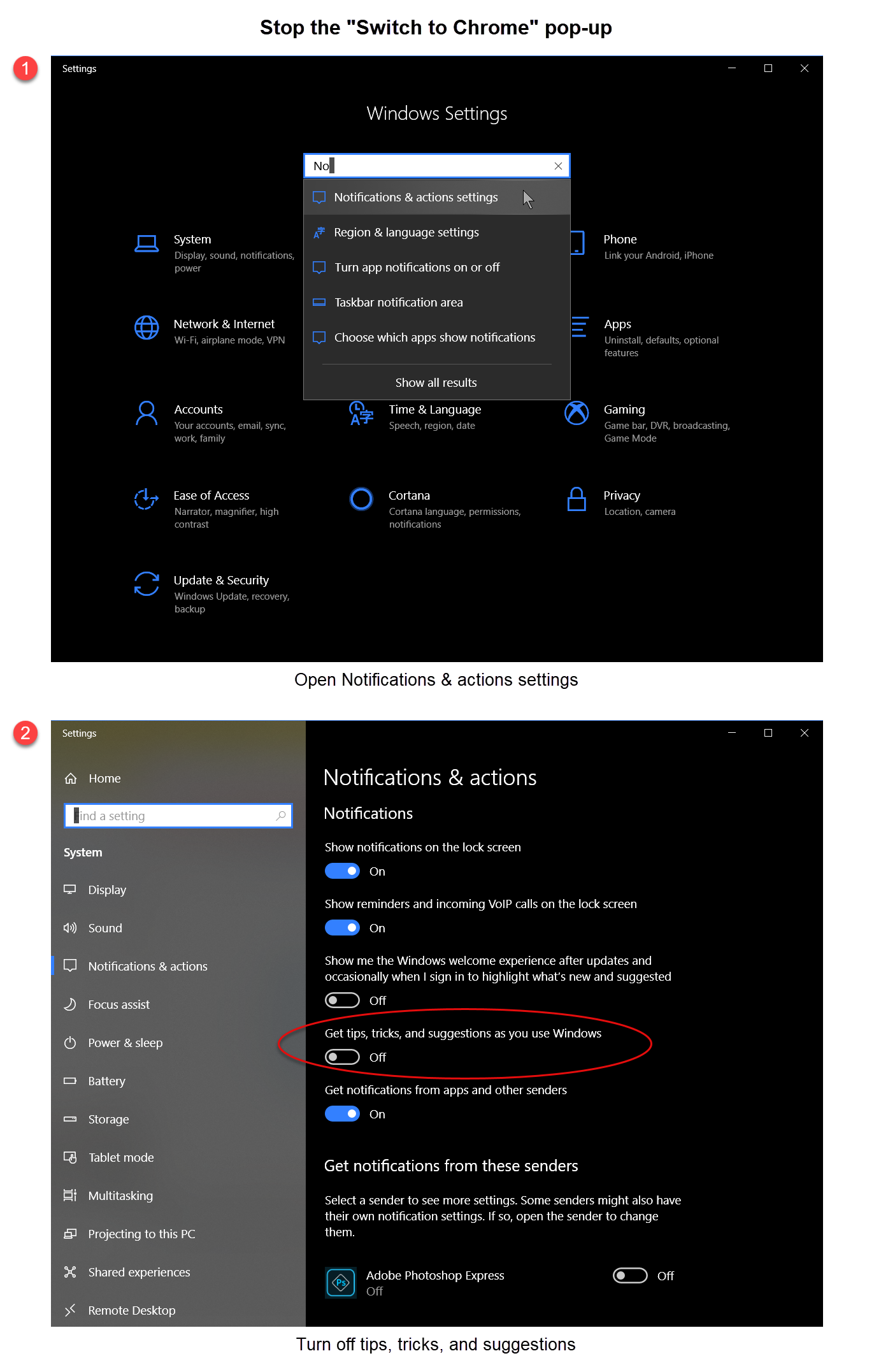 Turning off tips in Windows 10 settings