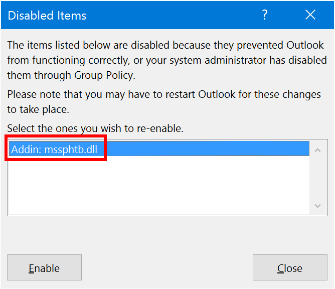 Select the Add-in to re-enable