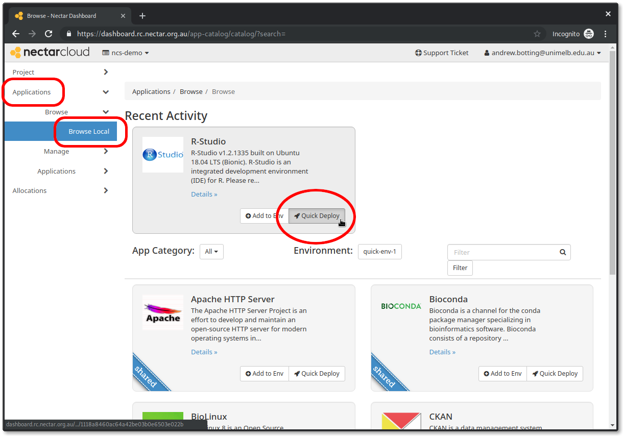 Launch RStudio Server from the nectar dashboard : eHelp Support