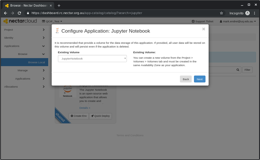 Nectar Applications - Jupyter Notebook : eHelp Support