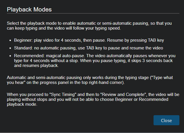 Popup box detailing different Playback Modes.