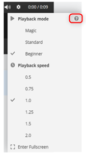 Video settings menu with circled question mark highlighted.