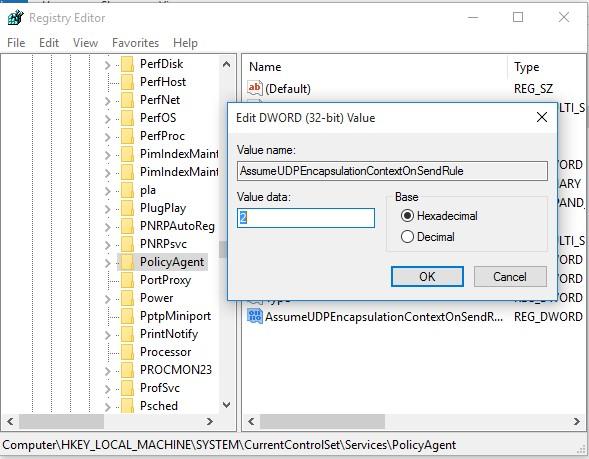AssumeUDPEncapsulationContextOnSendRule registry key