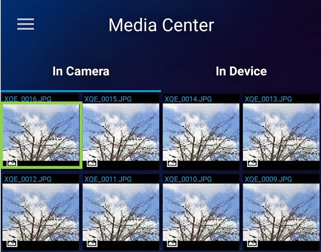 media center picture selected