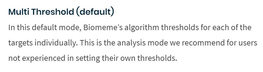 multi threshold analysis mode