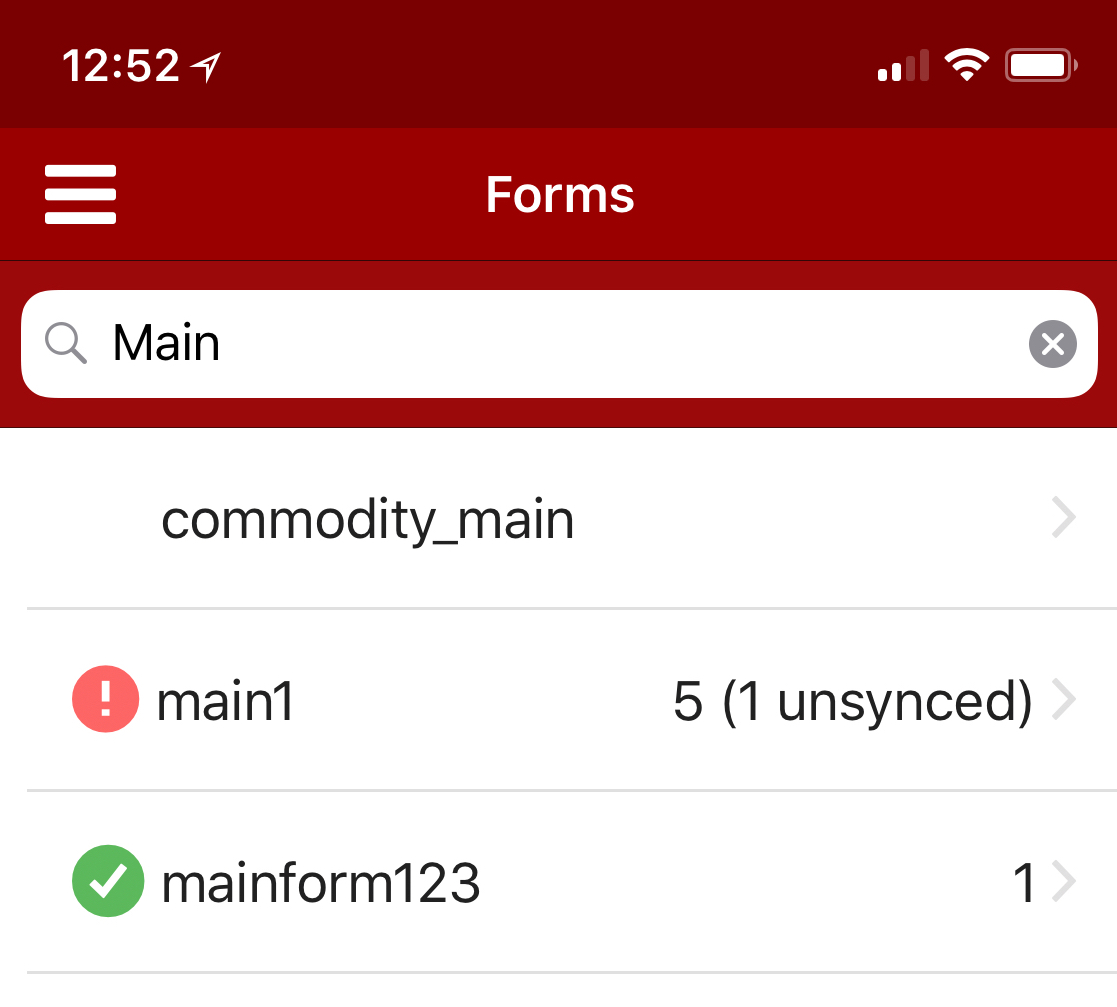 forms with invalid records in the form list