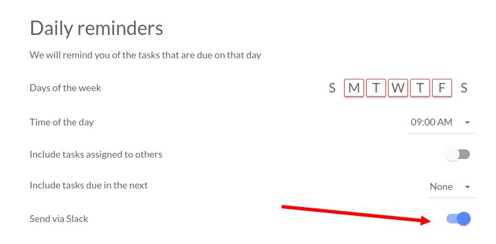 set up reminders and notifications in tasks or for slack