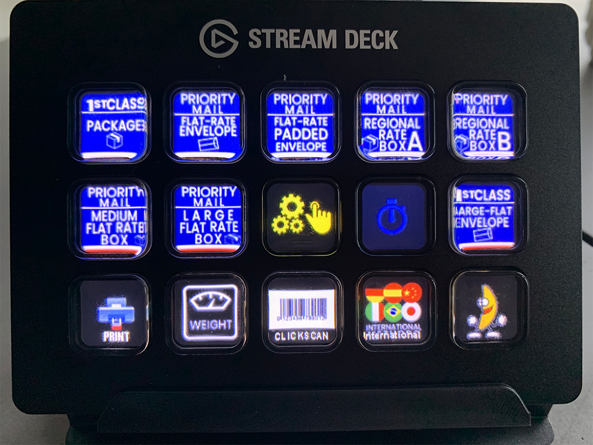 stream deck buttons assigned to popular shipping methods
