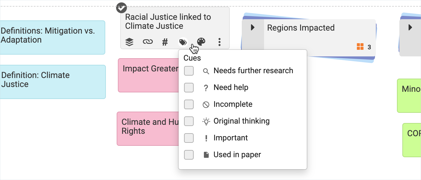 Adding visual cues to notecards