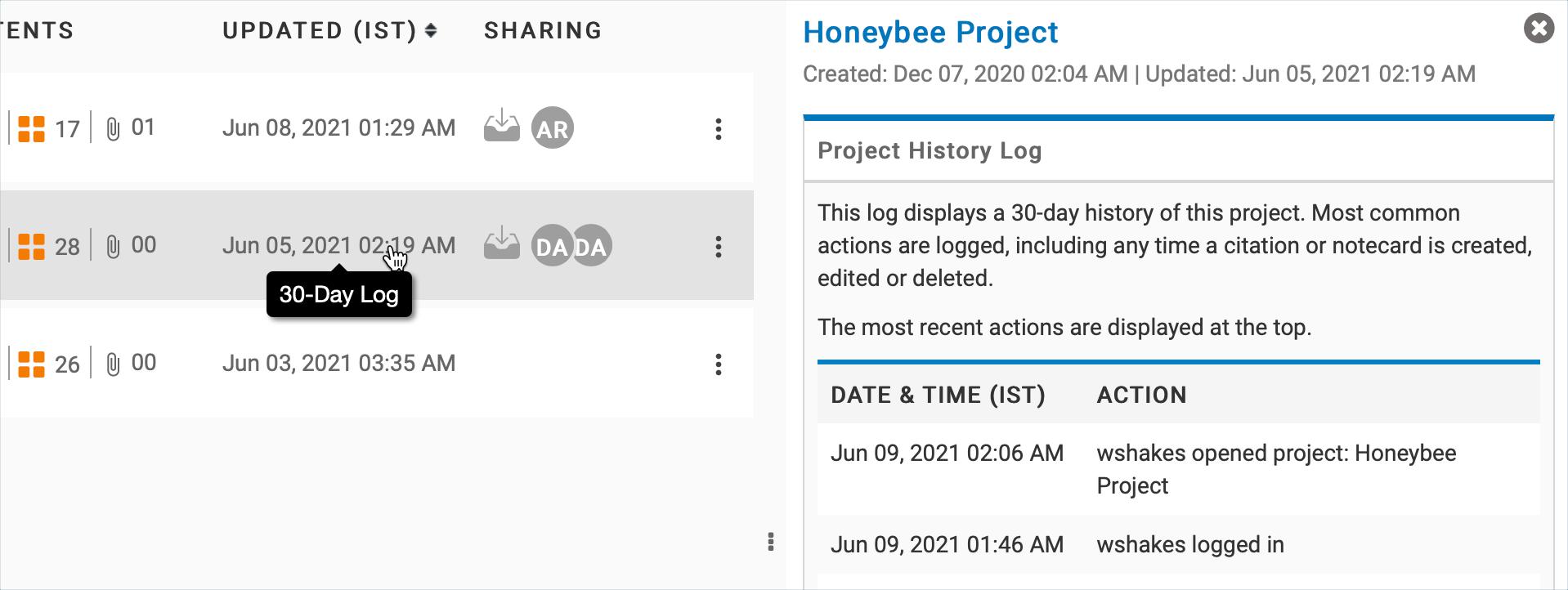 Project History Log