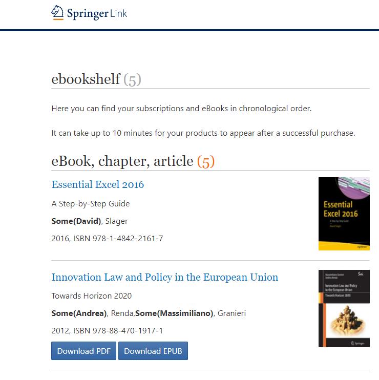 Springerlink 电子书架 : Springer Nature Support