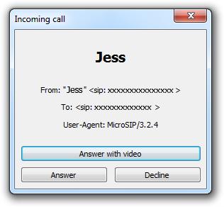 captura de pantalla Llamada entrante