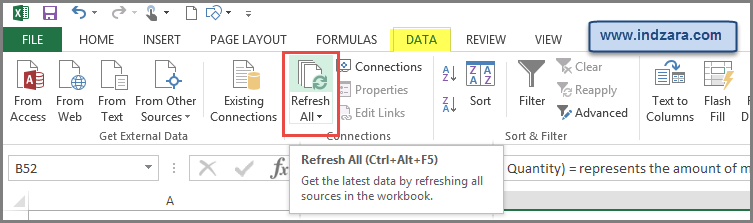Refresh Calculations by Ctrl+Alt+F5 or DATA -> Refresh All