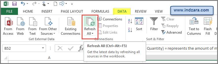 Refresh Calculations by Ctrl+Alt+F5 or DATA -> Refresh All