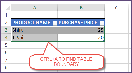 Finding Boundary of Table