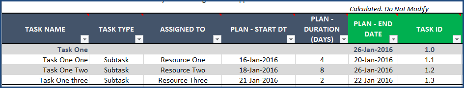 Gantt Chart Maker Excel Template - Tasks
