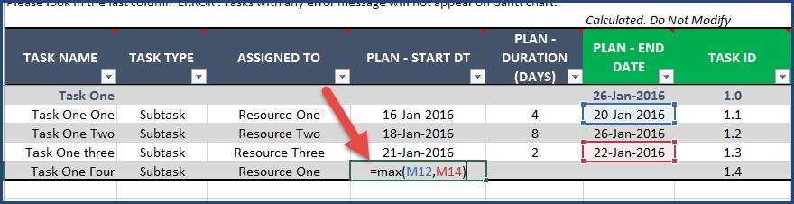 Gantt Chart Maker Excel Template - Formula