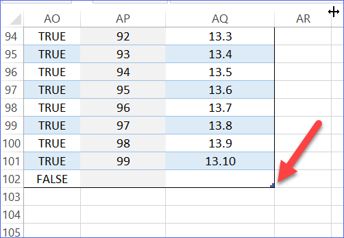 Symbol for end of Excel Table
