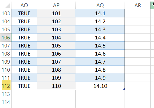 Extend the formulas down to more rows