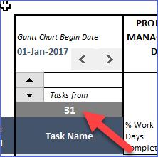 Change Task Number to start from, on Gantt Chart