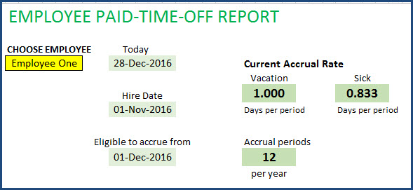 Choose Employee from drop down in PTO Report to view accrual rates