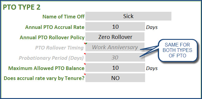 PTO Policy Settings for second PTO Type Sick days
