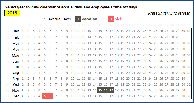 Employee PTO Report - Page 1 - Accrual Days and PTO Days on Calendar