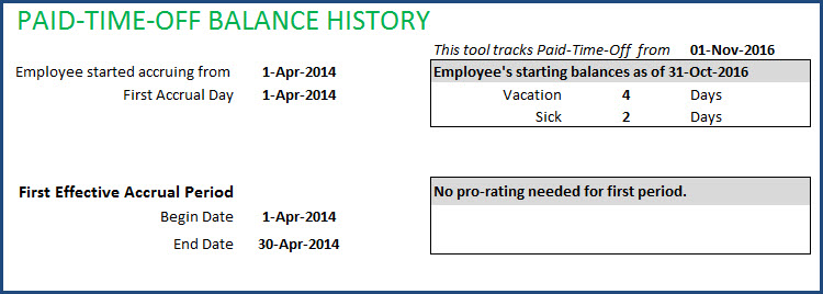 Employee PTO Report - Page 2 - Starting Balances, First Effective Accrual period
