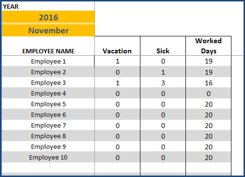 Paid Time Off Calendar - Sample - Employees paid time off - month totals