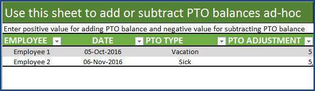 Adjustments Table to add or subtract pto balances