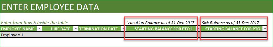 Starting Balances for Employees