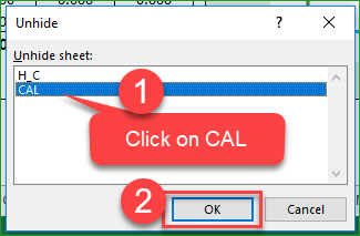 Unhide CAL sheet