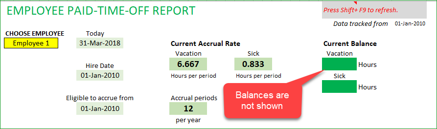 PTO Report not showing Balances