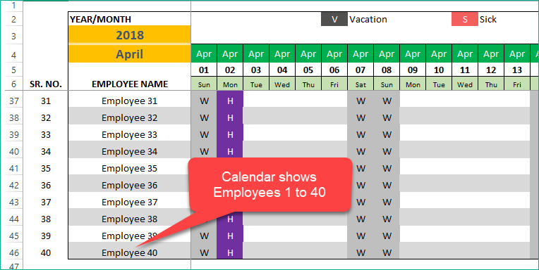 Calendar shows Employees 1 to 40