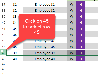Click on 45 to select row 45