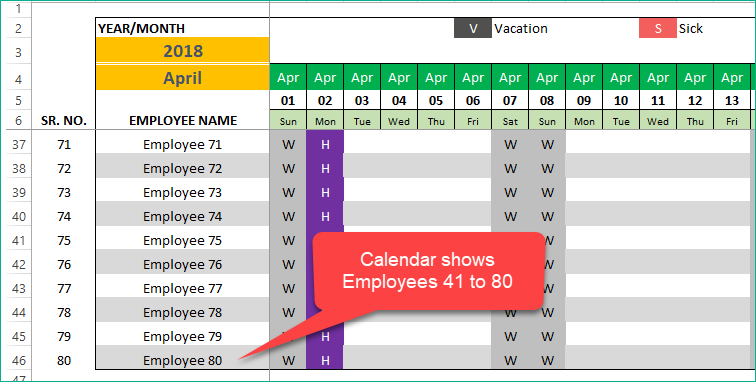 Calendar shows Employees 41 to 80