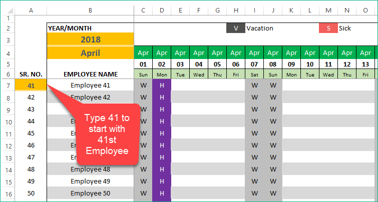 PTO Manager Calendar - Enter different starting number
