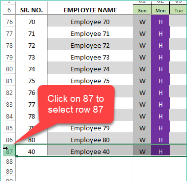 Click on 87 to select Row 87