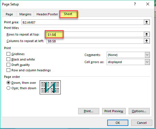 Select rows 1 to 6 to repeat in the Page Setup