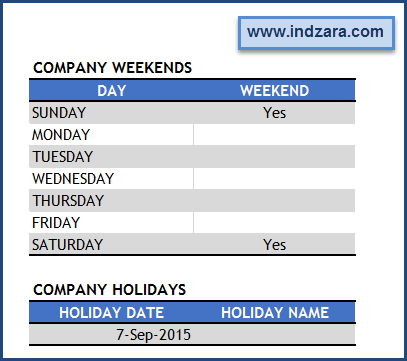 Project Planner (Advanced) Excel Template – Settings – Company Weekends and Holidays